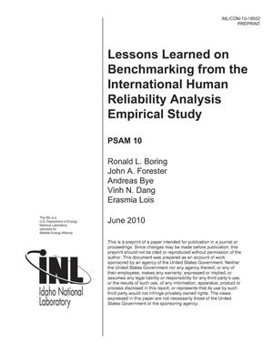 Primary view of object titled 'Lessons Learned on Benchmarking from the International Human Reliability Analysis Empirical Study'.