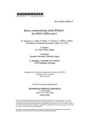 Primary view of object titled 'Beam commissioning of the RFQ for the RHIC-EBIS project'.