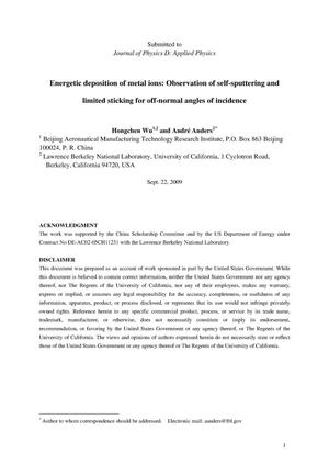 Primary view of object titled 'Energetic deposition of metal ions: Observation of self-sputtering and limited sticking for off-normal angles of incidence'.
