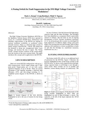 Primary view of object titled 'A Fusing Switch for Fault Suppression in the SNS High Voltage Converter Modulators'.
