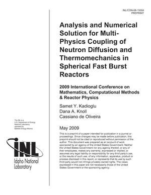 Primary view of object titled 'Analysis and Numerical Solution for Multi-Physics Coupling of Neutron Diffusion and Thermomechanics in Spherical Fast Burst Reactors'.