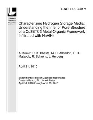 Primary view of object titled 'Characterizing Hydrogen Storage Media: Understanding the Interior Pore Structure of a Cu3BTC2 Metal-Organic Framework Infiltrated with NaAlH4'.
