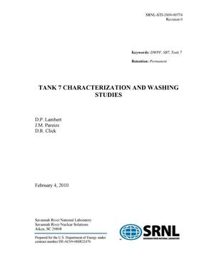 Primary view of object titled 'TANK 7 CHARACTERIZATION AND WASHING STUDIES'.