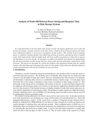 Primary view of object titled 'Analysis of Trade-Off Between Power Saving and Response Time in Disk Storage Systems'.