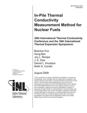 Primary view of object titled 'In-Pile Thermal Conductivity Measurement Method for Nuclear Fuels'.