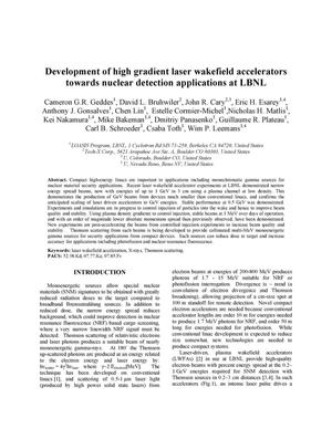 Primary view of object titled 'Development of high gradient laser wakefield accelerators towards nuclear detection applications at LBNL'.