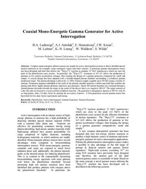 Primary view of object titled 'Coaxial Mono-Energetic Gamma Generator for Active Interrogation'.