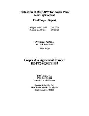 Primary view of object titled 'Evaluation of MerCAP for Power Plant Mercury Control'.