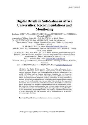 Primary view of object titled 'Digital Divide in Sub-Saharan African Universities: Recommendations and Monitoring'.