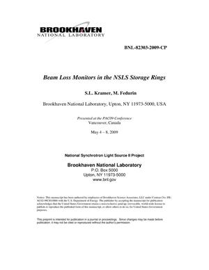 Primary view of object titled 'Beam Loss Monitors in the NSLS Storage Rings'.