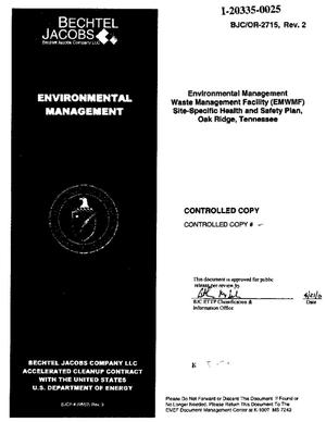 Primary view of object titled 'Environmental Management Waste Management Facility (EMWMF) Site-Specific Health and Safety Plan, Oak Ridge, Tennessee'.