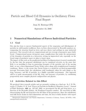 Primary view of object titled 'Particle and Blood Cell Dynamics in Oscillatory Flows Final Report'.