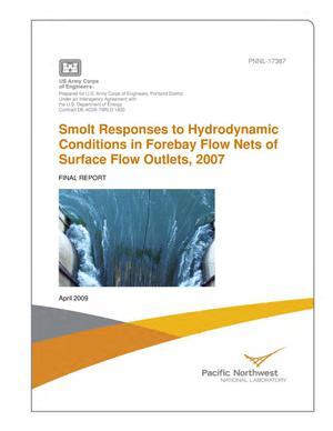 Primary view of object titled 'Smolt Responses to Hydrodynamic Conditions in Forebay Flow Nets of Surface Flow Outlets, 2007'.