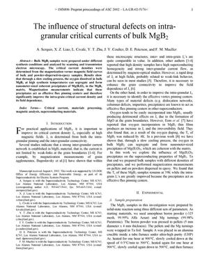 Primary view of object titled 'The influence of structural defects on intragranular critical currents of bulk MgB[sub 2].'.