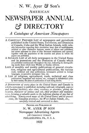 N. W. Ayer & Son's American Newspaper Annual and Directory: A Catalogue of American Newspapers, 1922, Volume 1