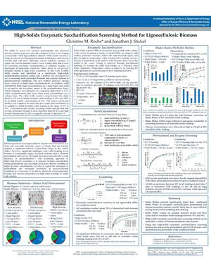 Primary view of object titled 'High-Solids Enzymatic Saccharification Screening Method for Lignocellulosic Biomass (Poster)'.