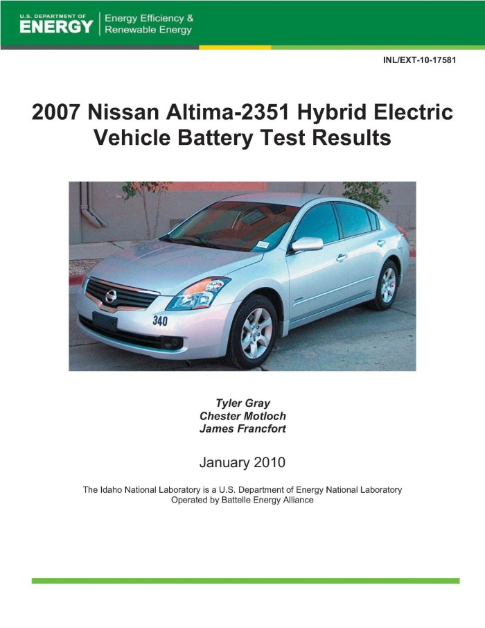 2007 Nissan Altima 2351 Hybrid Electric Vehicle Battery Test Results