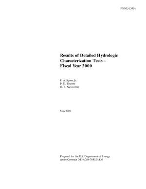 Primary view of object titled 'Results of Detailed Hydrologic Characterization Tests - Fiscal Year 2000'.
