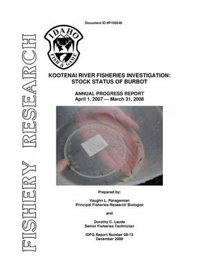 Primary view of object titled 'Kootenai River Fisheries Investigation : Stock Status of Burbot : Project Progress Report 2008 Annual Report.'.