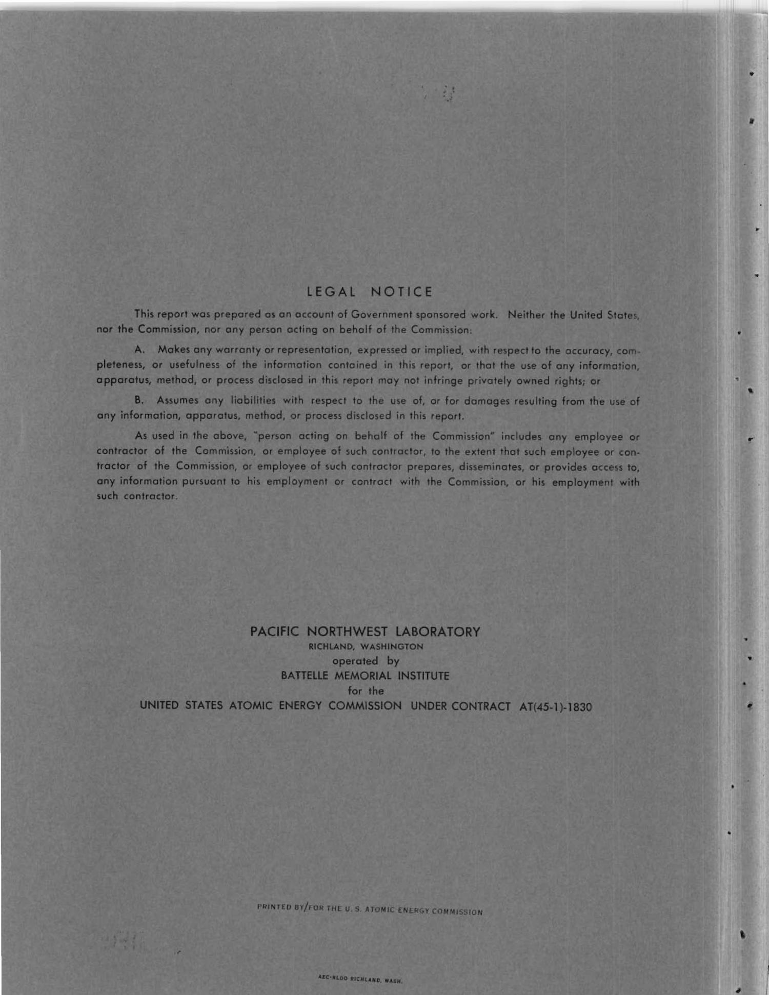 Pacific Northwest Laboratory Monthly Activities Report for June 1966 AEC Division of Reactor Development and Technology Programs                                                                                                      [Sequence #]: 2 of 190