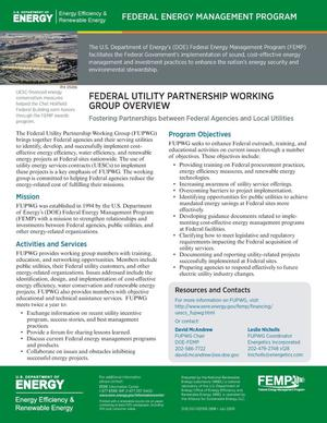 Primary view of object titled 'Federal Utility Partnership Working Group Overview (FUPWG) (Fact Sheet)'.
