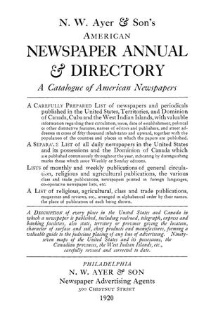 N. W. Ayer & Son's American Newspaper Annual and Directory: A Catalogue of American Newspapers, 1920, Volume 2