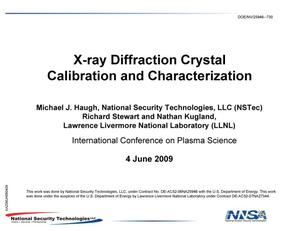 Primary view of object titled 'X-ray Diffraction Crystal Calibration and Characterization'.