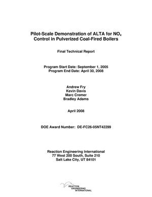 Primary view of object titled 'Pilot-Scale Demonstration of ALTA for NOx Control in Pulverized Coal-Fired Boilers'.