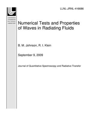 Primary view of object titled 'Numerical Tests and Properties of Waves in Radiating Fluids'.