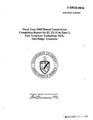 Primary view of object titled 'Fiscal Year 2008 Phased Construction Completion Report for EU Z2-33 in Zone 2, East Tennessee Technology Park, Oak Ridge, Tennessee'.