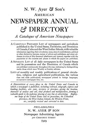 N. W. Ayer & Son's American Newspaper Annual and Directory: A Catalogue of American Newspapers, 1919, Volume 2