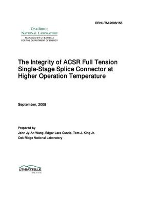 Primary view of object titled 'The Integrity of ACSR Full Tension Single-Stage Splice Connector at Higher Operation Temperature'.