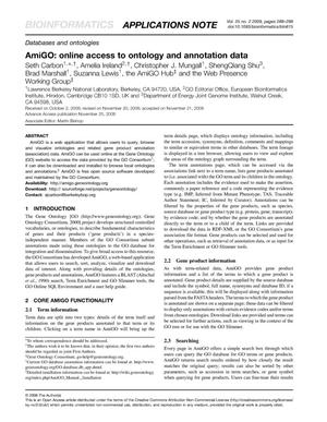 Primary view of object titled 'AmiGO: online access to ontology and annotation data'.