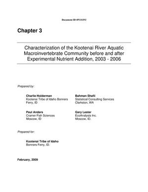 Primary view of object titled 'Characterization of the Kootenai River Aquatic Macroinvertebrate Community before and after Experimental Nutrient Addition, 2003-2006. [Chapter 3]'.