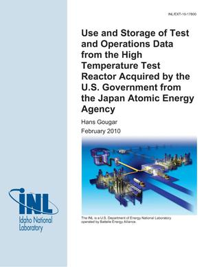 Primary view of object titled 'Use and Storage of Test and Operations Data from the High Temperature Test Reactor Acquired by the US Government from the Japan Atomic Energy Agency'.