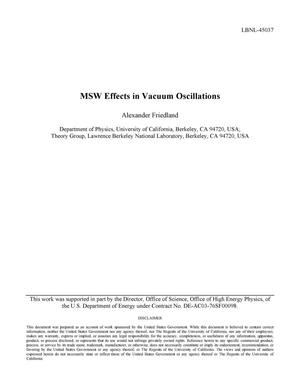Primary view of object titled 'MSW Effects in Vacuum Oscillations'.