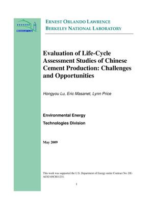 Primary view of object titled 'Evaluation of Life-Cycle Assessment Studies of Chinese Cement Production: Challenges and Opportunities'.