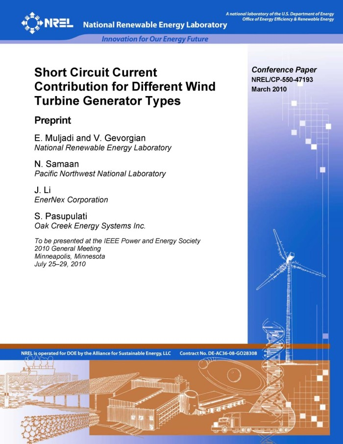 Short Circuit Current Contribution for Different Wind