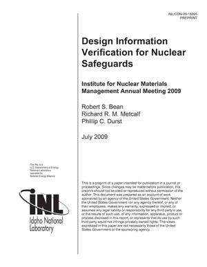 Primary view of object titled 'DESIGN INFORMATION VERIFICATION FOR NUCLEAR SAFEGUARDS'.