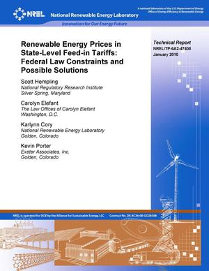 Primary view of object titled 'Renewable Energy Prices in State-Level Feed-in Tariffs: Federal Law Constraints and Possible Solutions'.