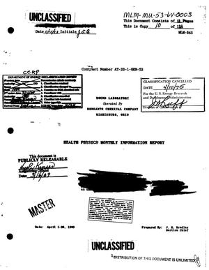 Primary view of object titled 'Health Physics Monthly Information Report. April 1-30, 1953.'.