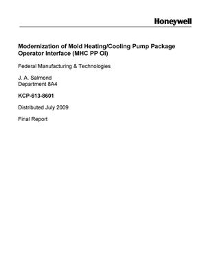 Primary view of object titled 'Mold Heating and Cooling Pump Package Operator Interface Controls Upgrade'.