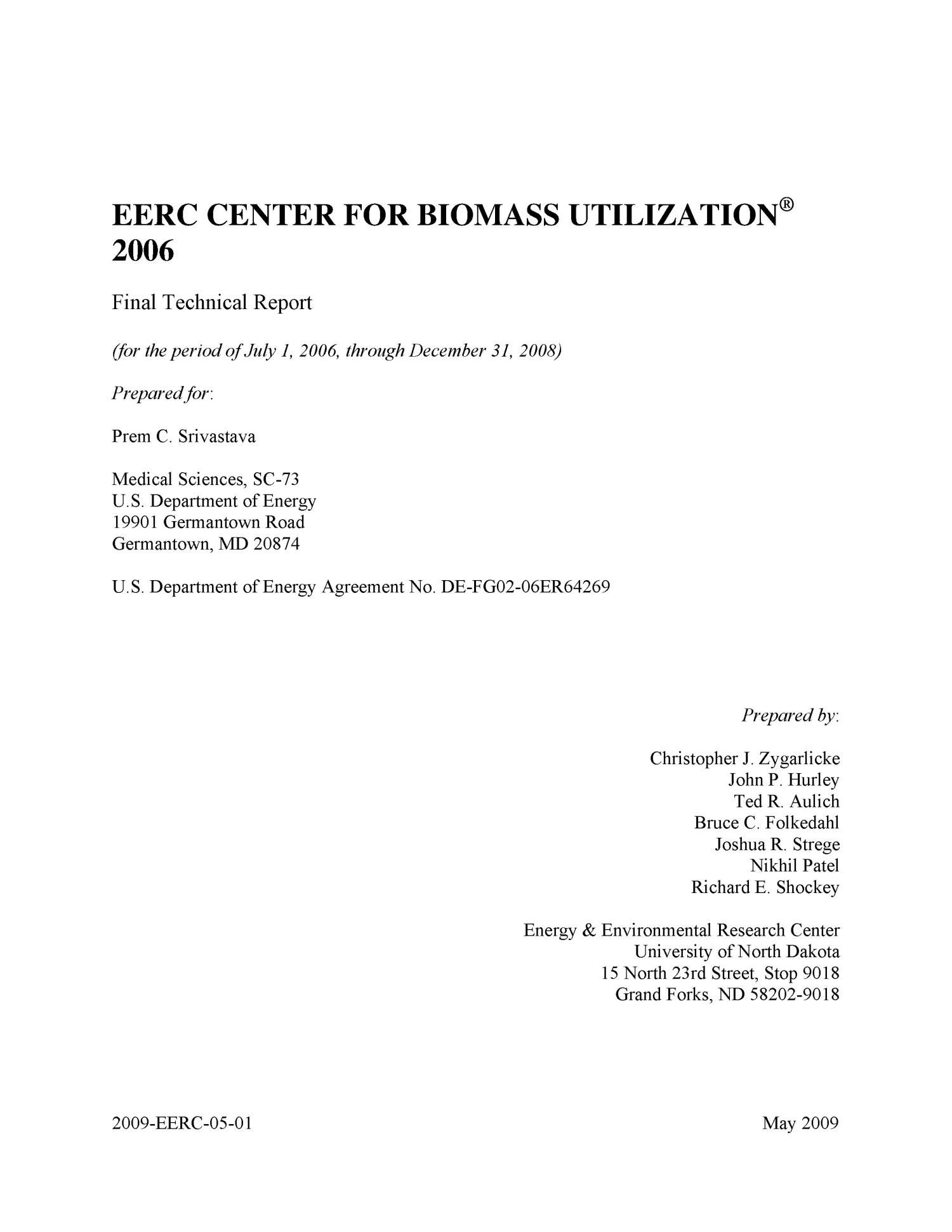EERC Center for Biomass Utilization 2006                                                                                                      [Sequence #]: 2 of 240