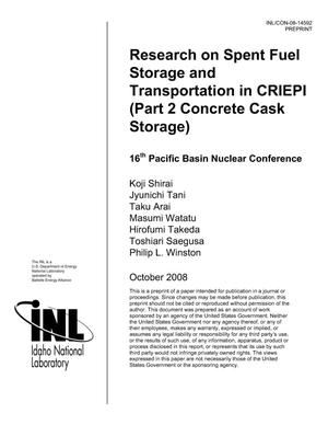 Primary view of object titled 'Research on Spent Fuel Storage and Transportation in CRIEPI (Part 2 Concrete Cask Storage)'.
