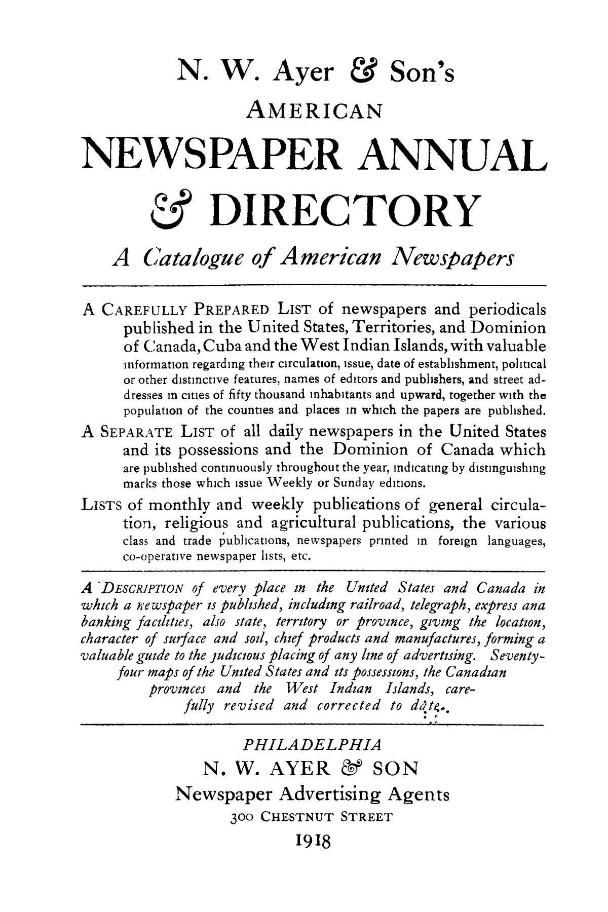 N. W. Ayer & Son's American Newspaper Annual and Directory: A Catalogue of American Newspapers, 1918, Volume 2                                                                                                      Title Page