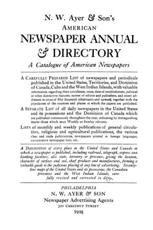 Primary view of object titled 'N. W. Ayer & Son's American Newspaper Annual and Directory: A Catalogue of American Newspapers, 1918, Volume 2'.
