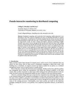 Primary view of object titled 'Pseudo-interactive monitoring in distributed computing'.