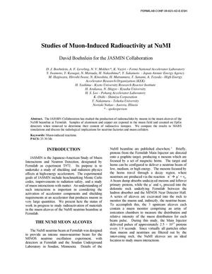Primary view of object titled 'Studies of muon-induced radioactivity at NuMI'.