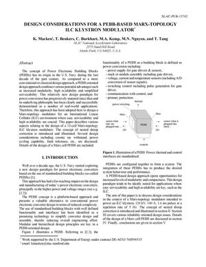 Primary view of object titled 'Design Considerations for a PEBB-Based Marx-Topology ILC Klystron Modulator'.