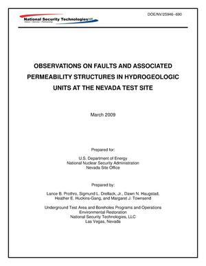 Primary view of object titled 'Observations on Faults and Associated Permeability Structures in Hydrogeologic Units at the Nevada Test Site'.